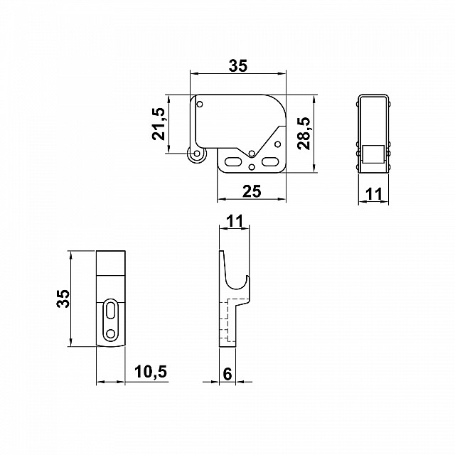 MINI LATCH WHITE WITH FRONT CATCH PART